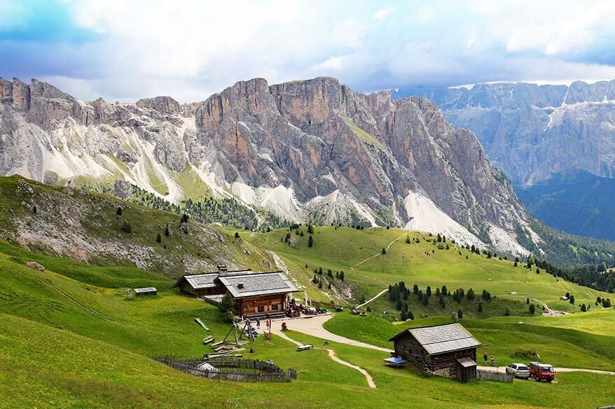 View over Baita Troier mountain hut in Italian Dolomites