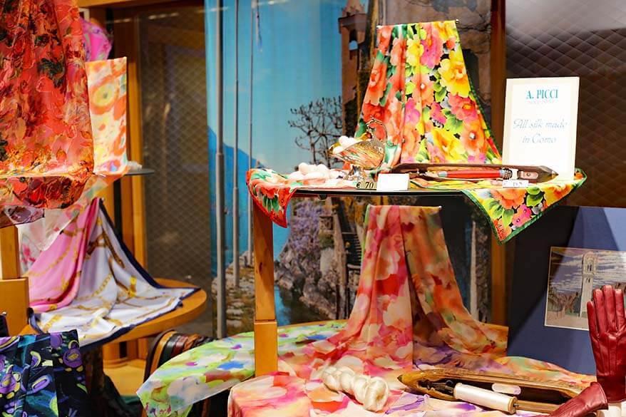 Como silk for sale at Lake Como Italy