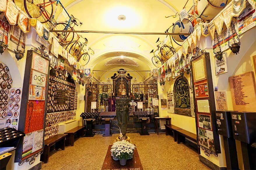 Madonna di Ghisallo chapel is a real shrine for cycling enthusiasts - Lombardy, Italy