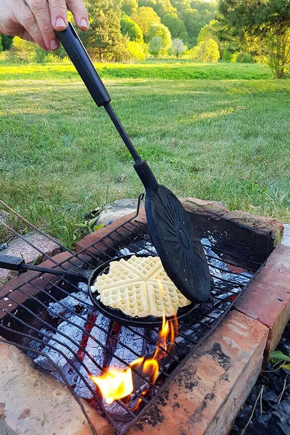 Most nostalgic experience - baking pancakes on the fire in Lithuania