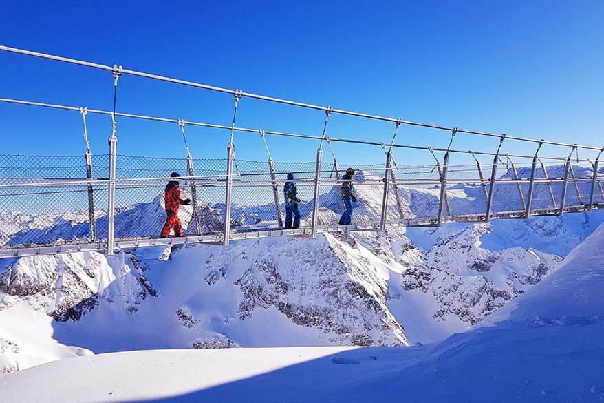 Mt Titlis suspension bridge in Switzerland in winter