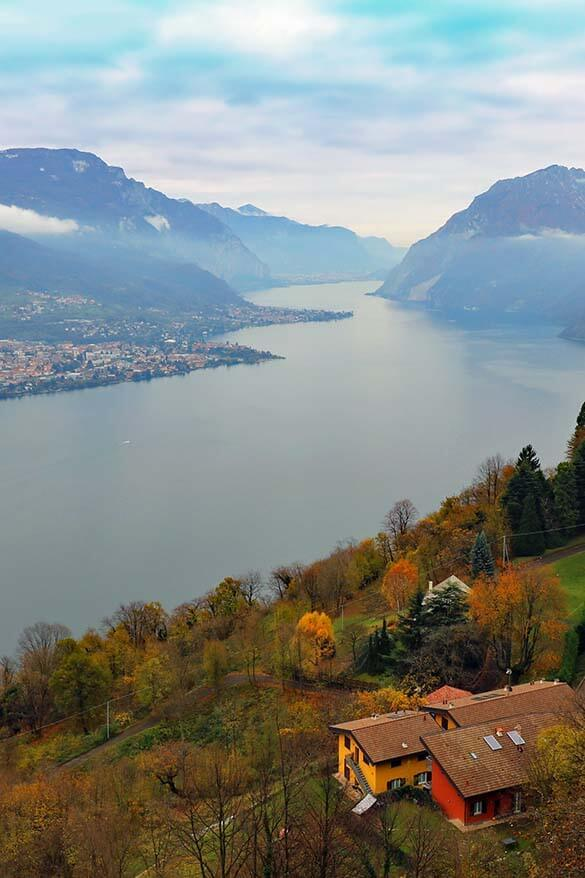 Panoramic view over Lake Como from Civenna near Bellagio in Lombardy Italy