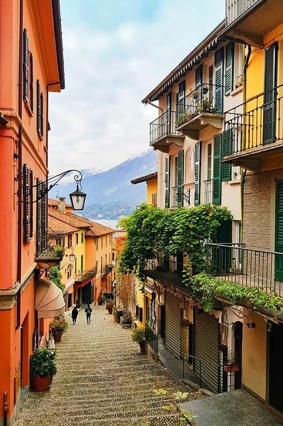 Picturesque street in Bellagio Lake Como, Italy