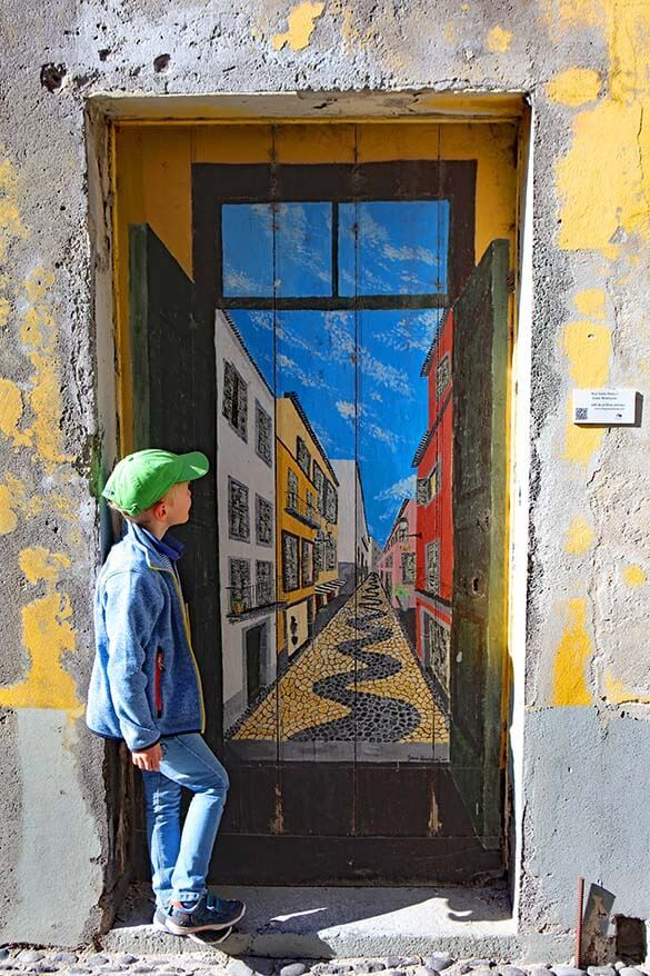 Street art - painted doors at Rua da Santa Maria in Funchal Madeira