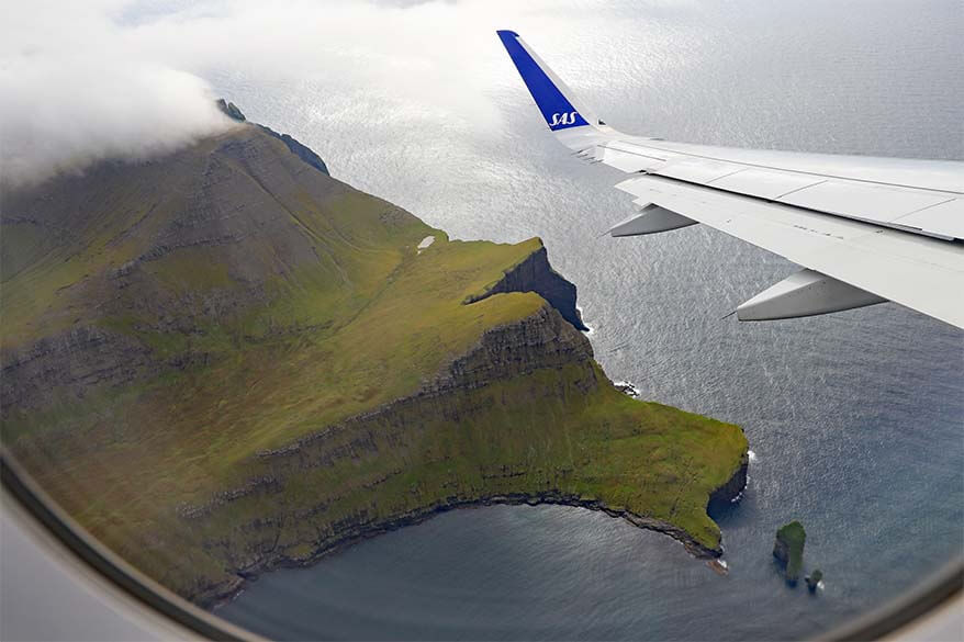 View of the Faroe Islands from an airplane window