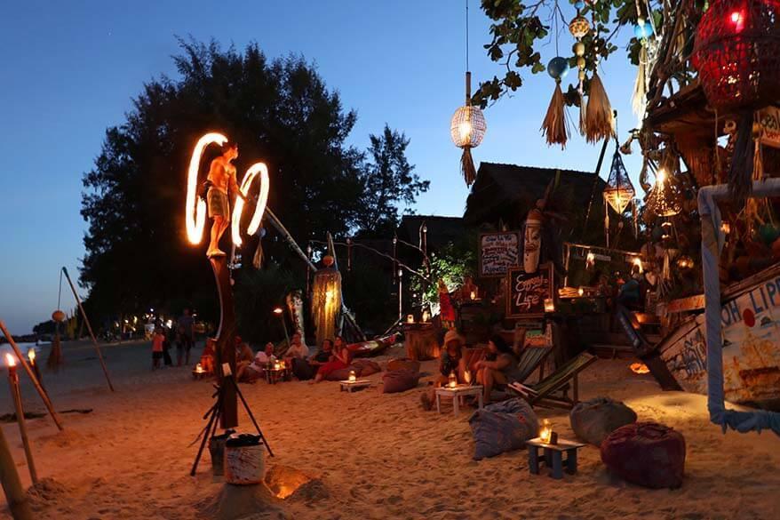 Fire show on the beach in Ko Lipe Thailand