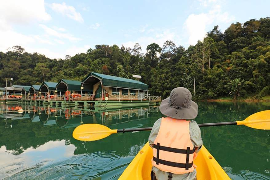Kayaking at Elephant Hills Rainforest Camp in Khao Sok NP in Thailand