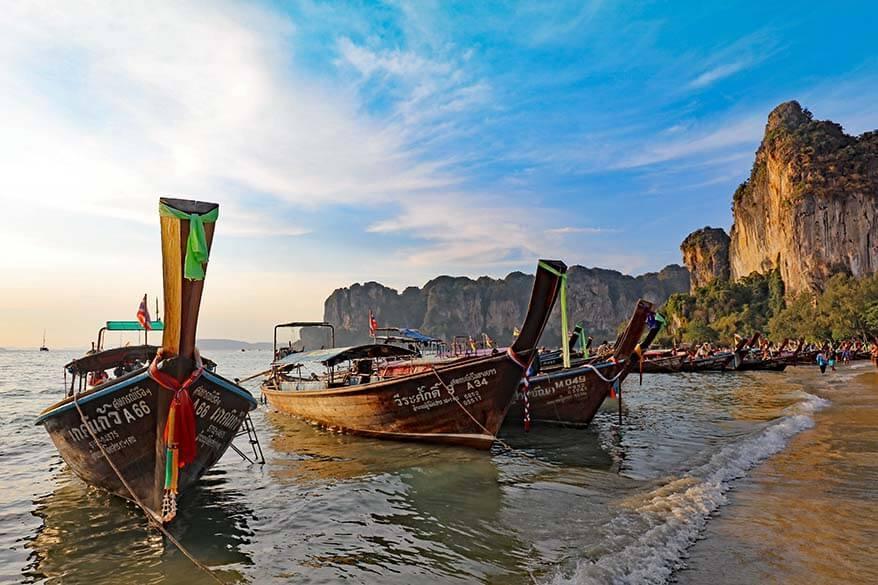 Long tail boats on Railay Beach near Krabi in Thailand