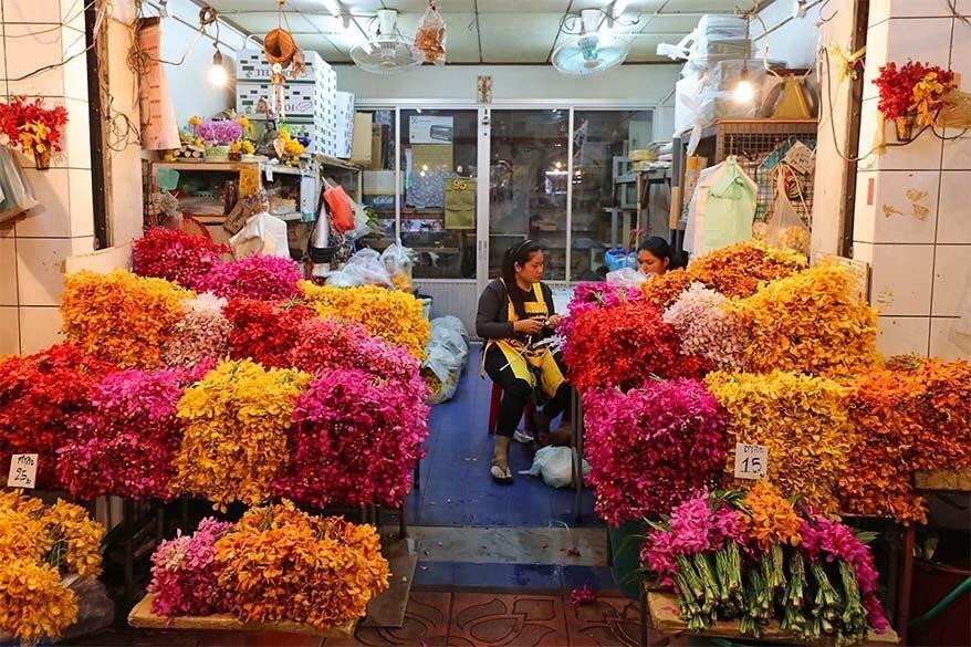 Orchids for sale at Bangkok flower market Pak Khlong Talat