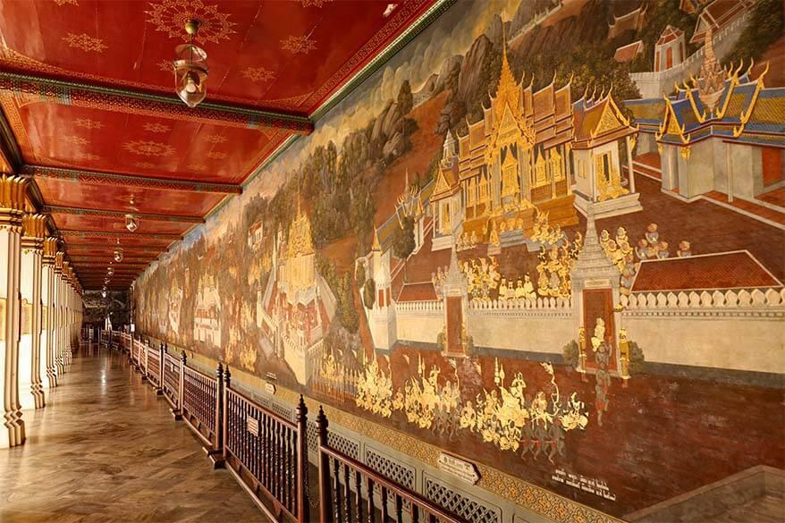 Ramakien mural paintings at the Grand Palace in Bangkok