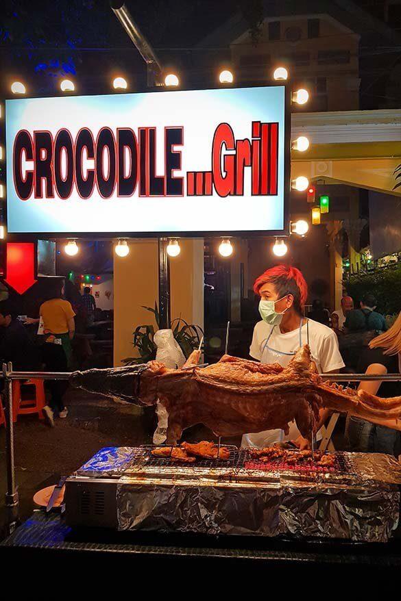 Roasted crocodile for sale on Khao San Road in Bangkok