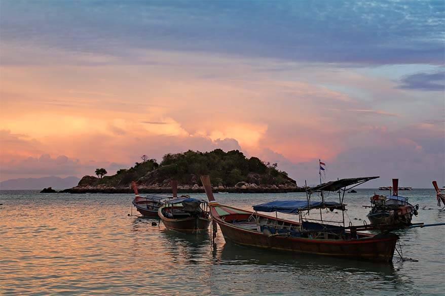 Sunrise Beach at sunset - Ko Lipe island in Thailand