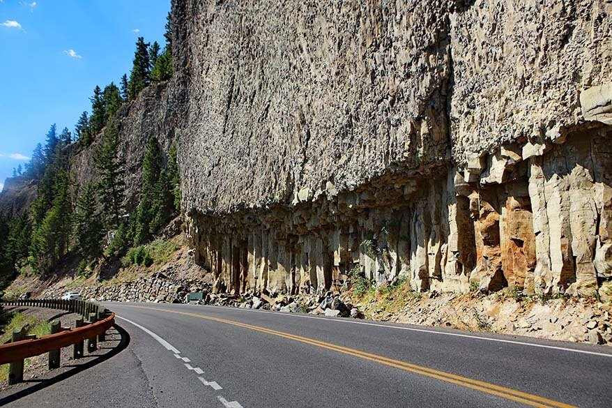 Basalt Columns along Yellowstone's Grand Loop Road near the Tower Falls area