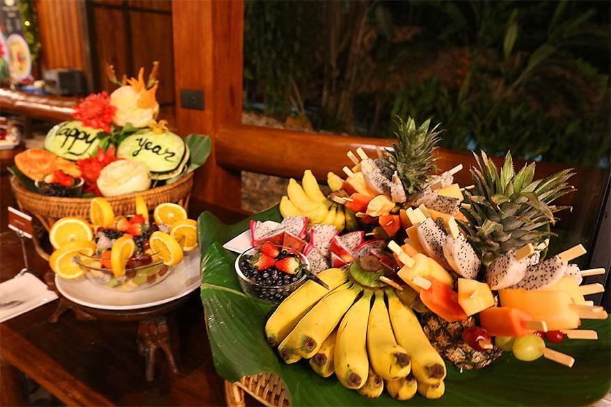 Fruit dessert New Year's dinner buffet at the Elephant Hills Thailand