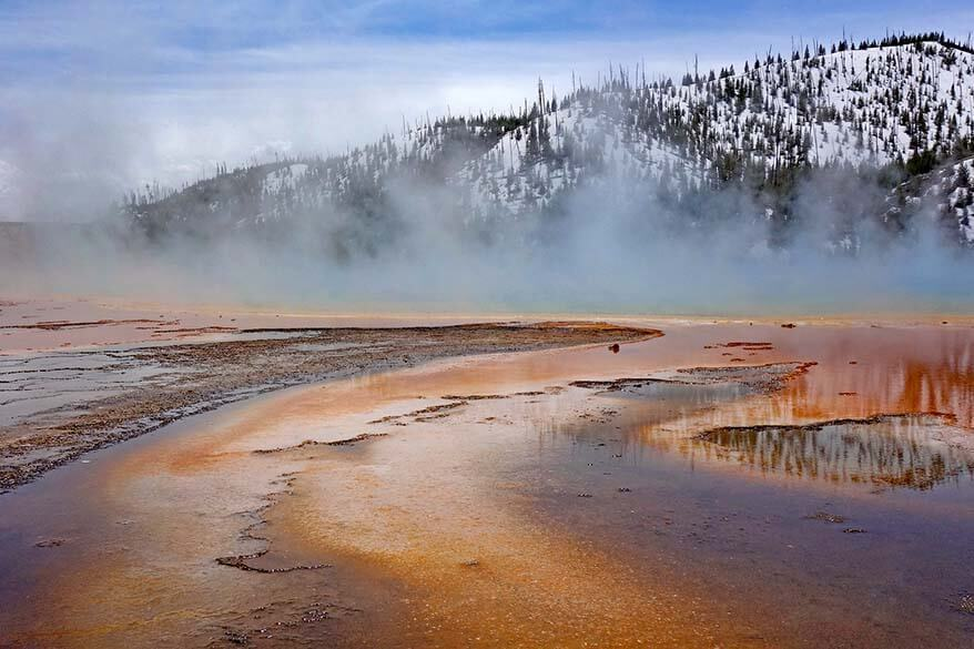 Grand Prismatic Spring in Yellowstone in May