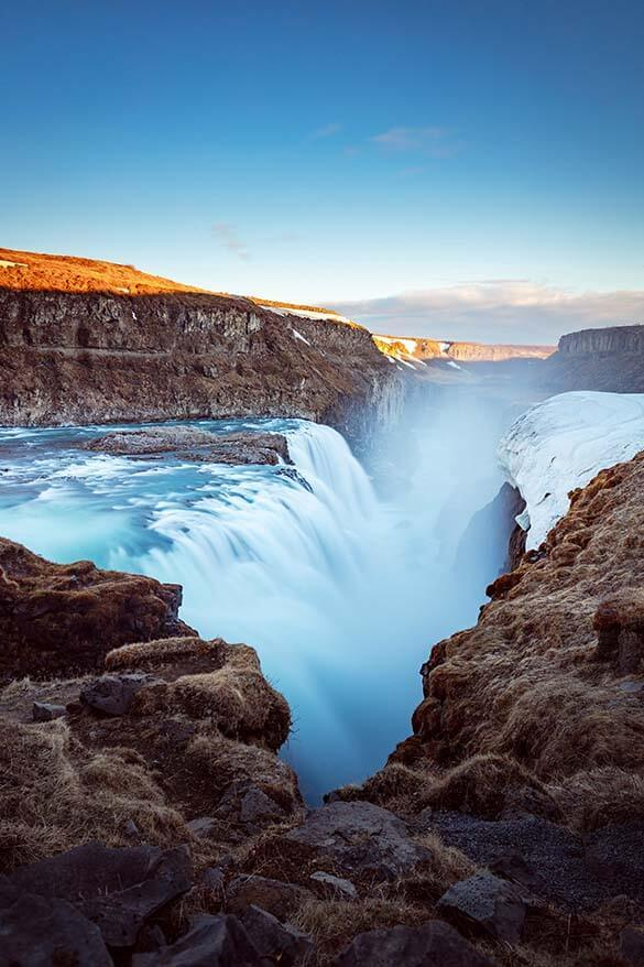 Gullfoss - Golden waterfall is one of the main landmarks of the Golden Circle in Iceland