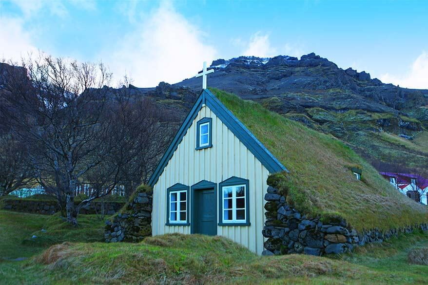 Hofskirkja turf church along the Ring Road in southern Iceland