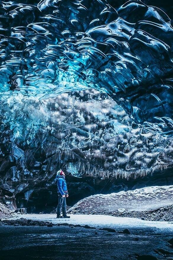 Ice caves near Jokulsarlon glacier lagoon in Iceland