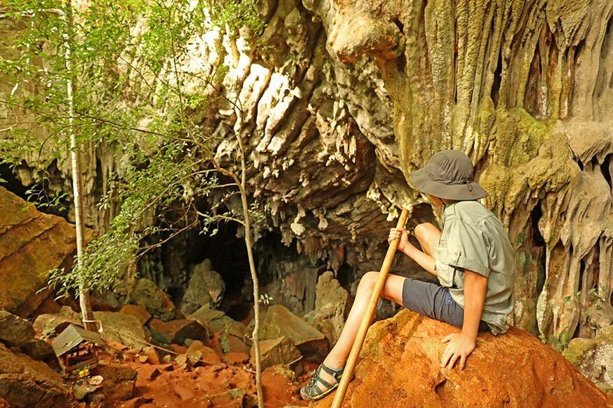 Jungle trekking and stalactites stalagmites caves in Khao Sok NP in Thailand