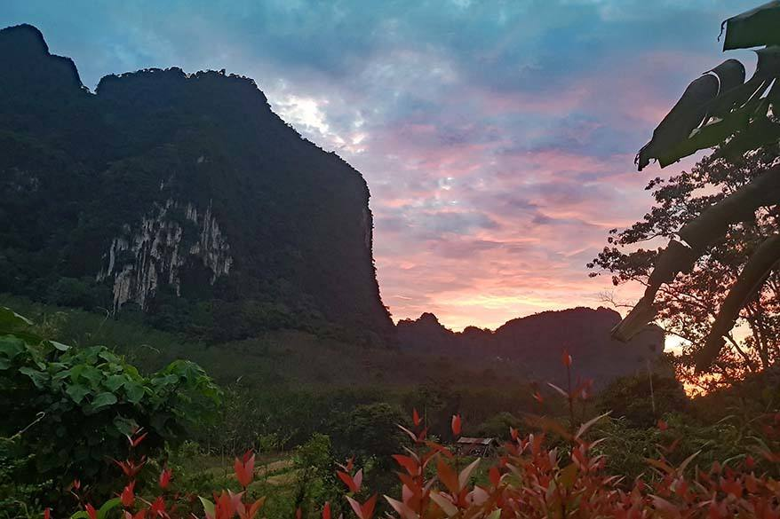Khao Sok National Park scenery at sunset