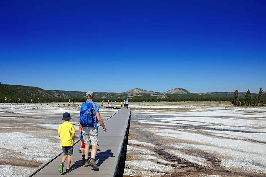 Midway Geyser Basin in Yellowstone is easily accessible via boardwalks