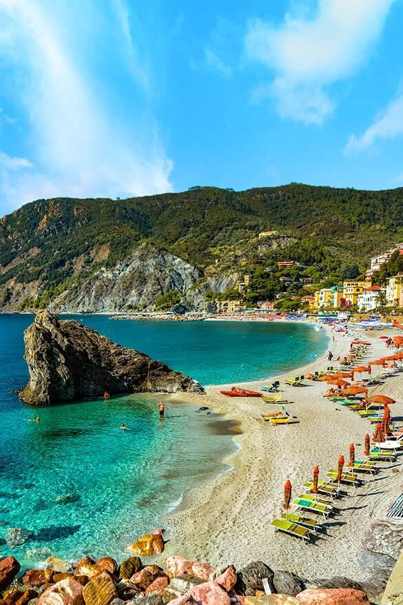 Monterosso al Mare is the only Cinque Terre town with a big beach and lots of good quality hotels