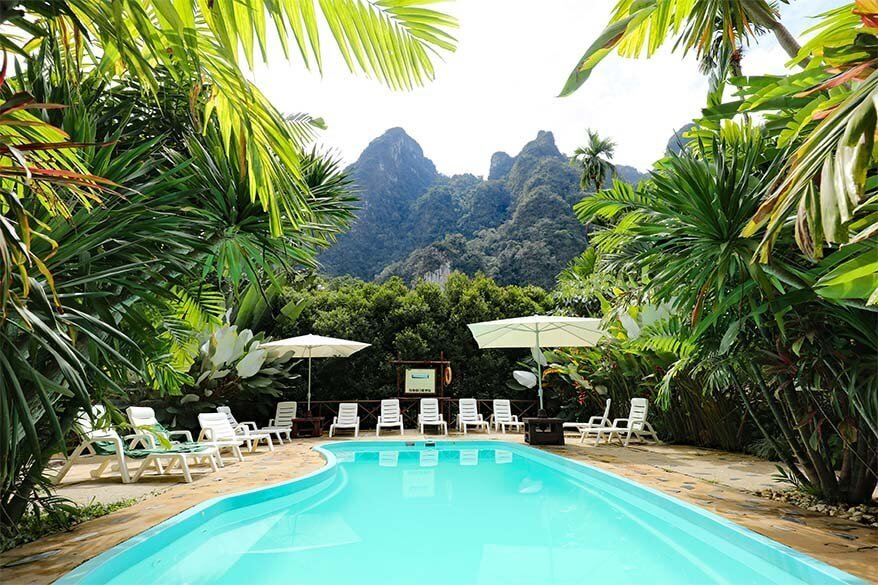 Swimming pool in the luxury jungle resort Elephant Hills in Khao Sok National Park Thailand