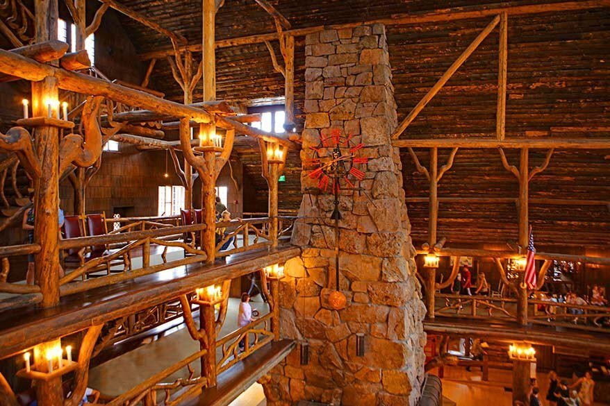 Wooden interior of the Old Faithful Inn is must see in Yellowstone