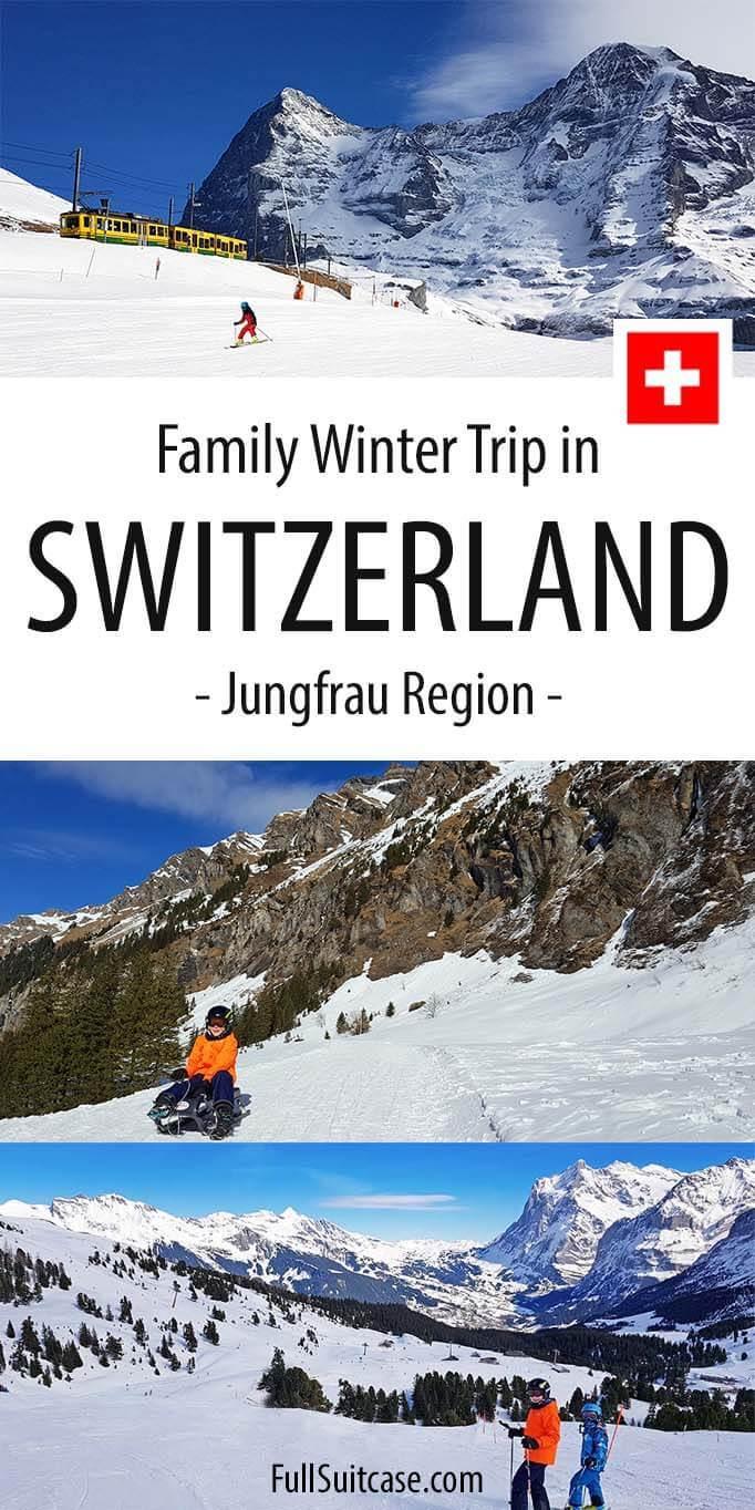Family vacation in Switzerland's Jungfrau Region in winter with kids