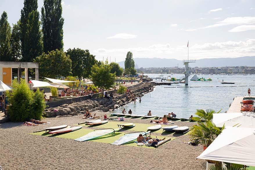 Geneve Plage or Tropical Corner - a popular beach in Geneva Switzerland