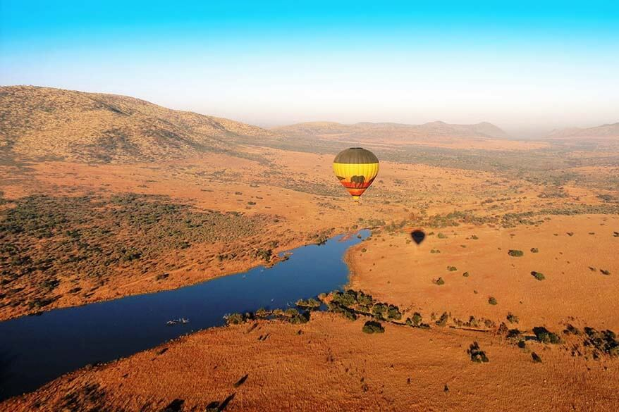 Hot air balloon above Pilanesberg National Park in South Africa