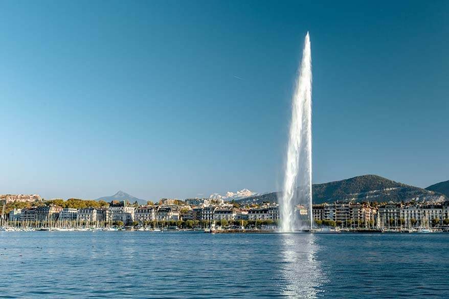 Jet d'Eau on Lake Geneva - one of the must see places in Geneva Switzerland