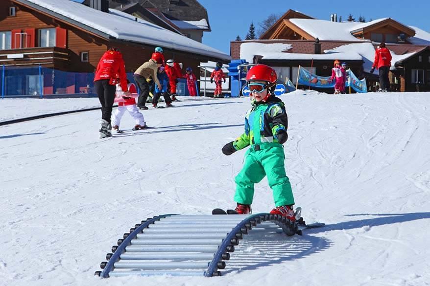 Kids ski school in Wengen Switzerland