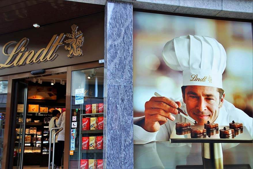 Lindt chocolate store - you must try Swiss chocolate when visiting Geneva in Switzerland