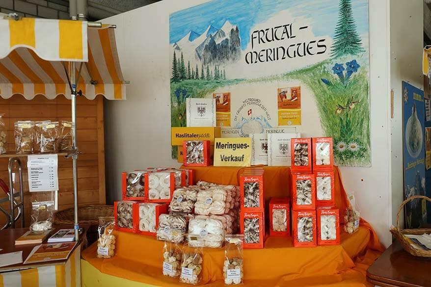 Meringues at Frutal bakery in Meiringen Switzerland