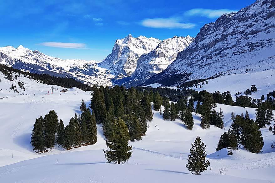 Mountain scenery of Switzerland's Jungfrau Region in winter