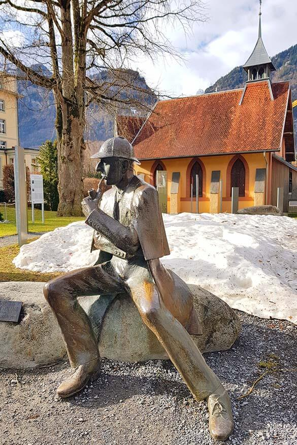 Sherlock Holmes statue in Meiringen Switzerland