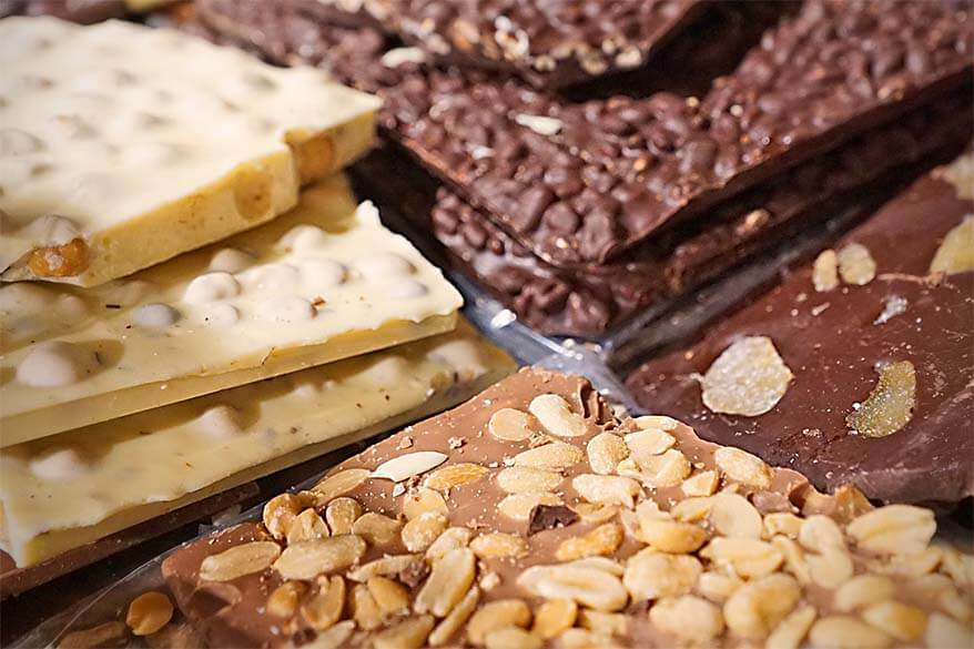 Swiss chocolate for sale at a local market - things to do in Geneva