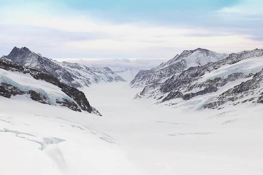 View over Aletsch Glacier from Jungfraujoch Sphinx observation platform, Switzerland
