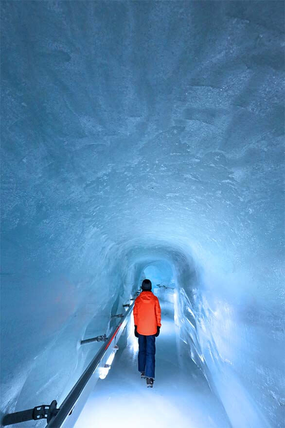 Ice tunnel under the glacier at Jungfraujoch Ice Palace in Switzerland