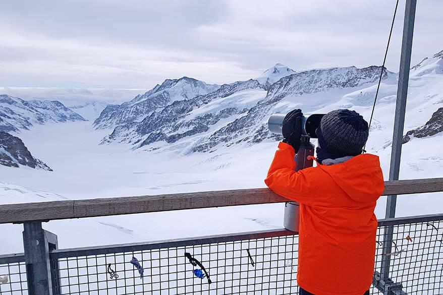 Jungfraujoch Sphinx Observation Deck - view over Aletsch Glacier - Switzerland