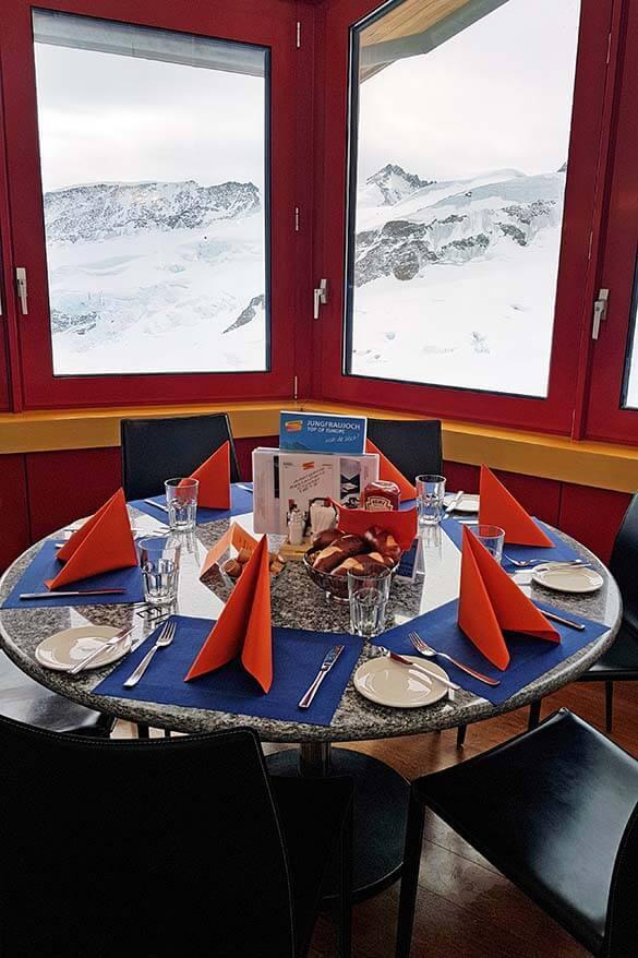 Jungfraujoch Top of Europe restaurant with views over Aletsch Glacier - Switzerland