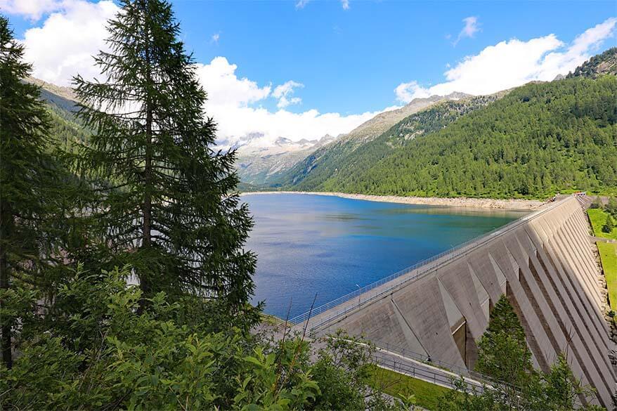 Lago di Malga Bissina dam in Daone Valley in Trentino region in Italy