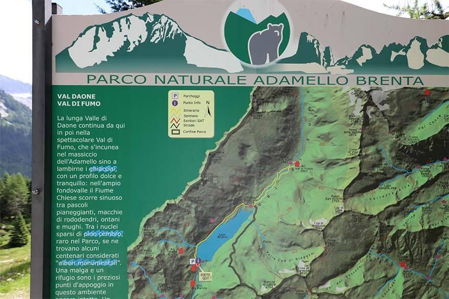 Map of Rifugio Val di Fumo hike in Val Daone, Trentino in Italy