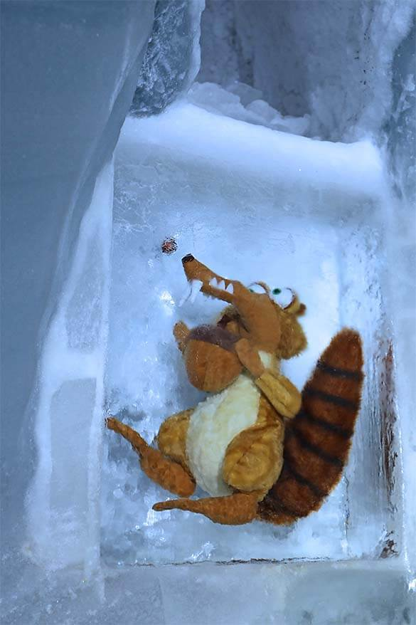 Scrat from Ice Age at the Jungfraujoch Ice Palace in Switzerland