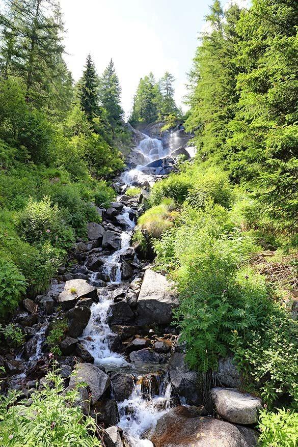 Small waterfall along Val di Fumo hike in Italy