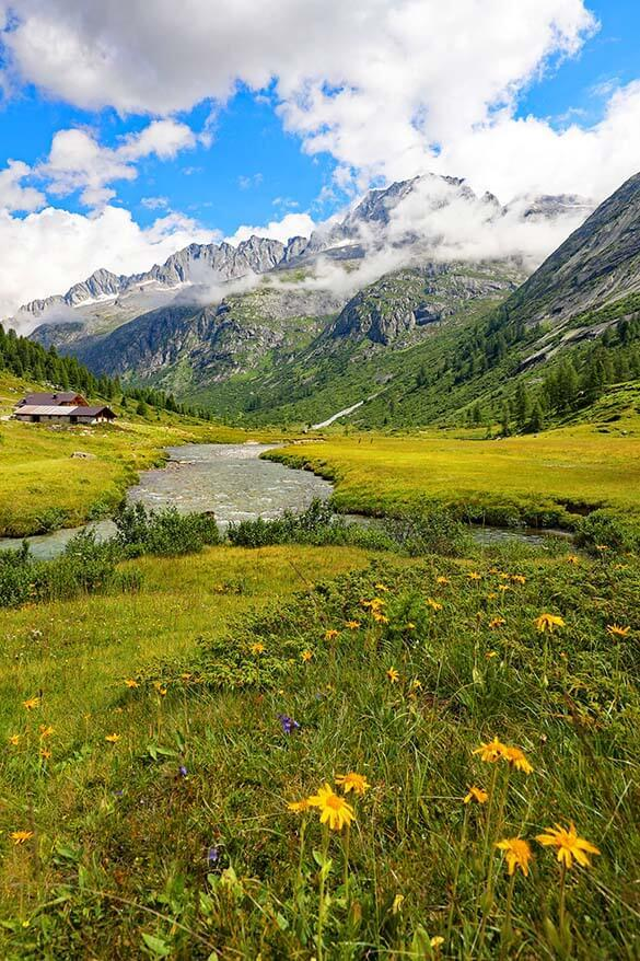 Spectacular mountain scenery at Val di Fumo in Italy