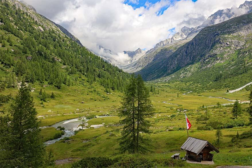 Stunning scenery at Rifugio Val di Fumo - one of the most beautiful mountain valleys of Trentino region in Italy