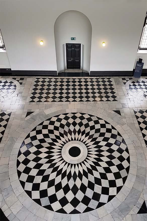 Beautiful black and white marble floor at the Queen's House in Greenwich, London UK