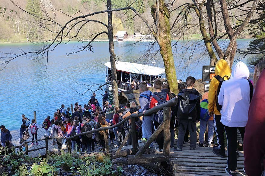 Crowds of people in Plitvice Lakes National Park in April